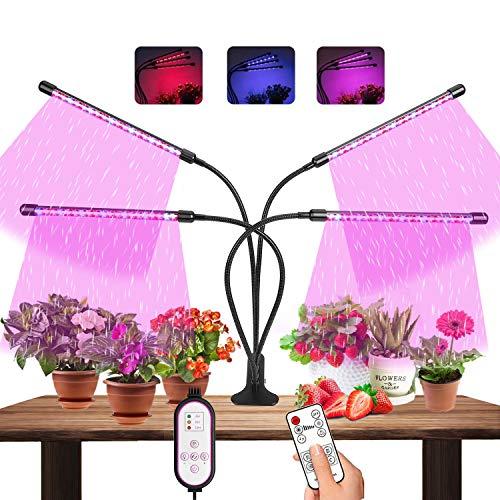 MATEHOM Lampe Horticole, 80 LEDs Lampe de Croissance à 360° Éclairage Horticole avec, Lampe pour Plante 4 Têtes Lampe Croissance Spectre Complet avec Chronométrage Auto - on/Off 4H / 8H / 12H