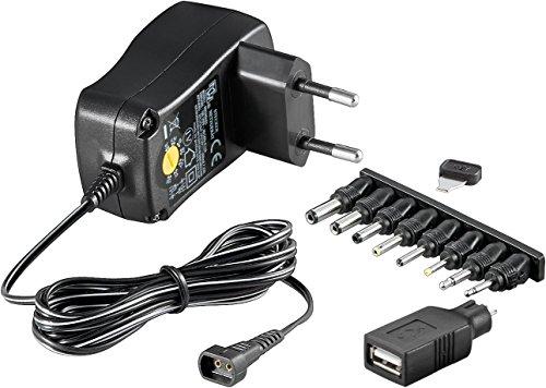 Goobay 53995 Universal Netzteil 600mA 3V / 4,5V / 5V / 6V / 7,5V / 9V / 12V inkl. 8 Adapterstecker plus USB, 53995, Schwarz, 1 Stück