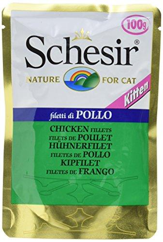 Schesir, Cibo Umido per Gatti Cuccioli al Gusto Filetti di Pollo, in Morbida Gelatina - Totale 2 kg (20 Buste da 100G)