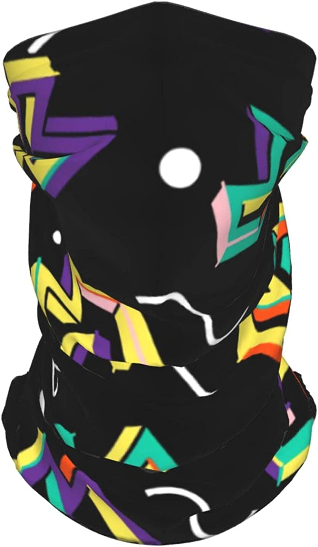 Funny Retro 80s Geometric3 Neck Gaiter Multipurpose Headwear Ice Silk Mask Scarf Summer Cool Breathable Outdoor Sport 4 Pcs