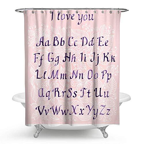 KISY Kinder Alphabet ABC pädagogische wasserdichte Bade-Duschvorhang, für Frauen wie ich Liebe Dich; Standardgröße 178 x 178 cm, Pink