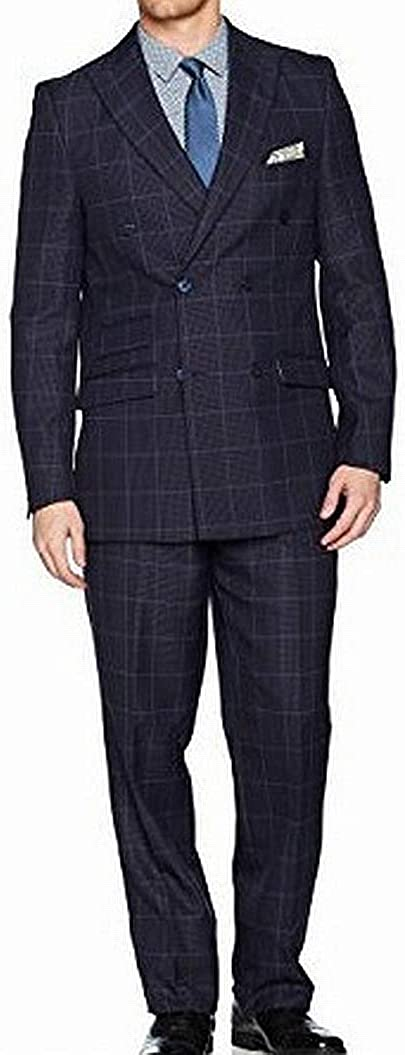 STACY ADAMS Men's Sam Double Breasted Suit Mini Check