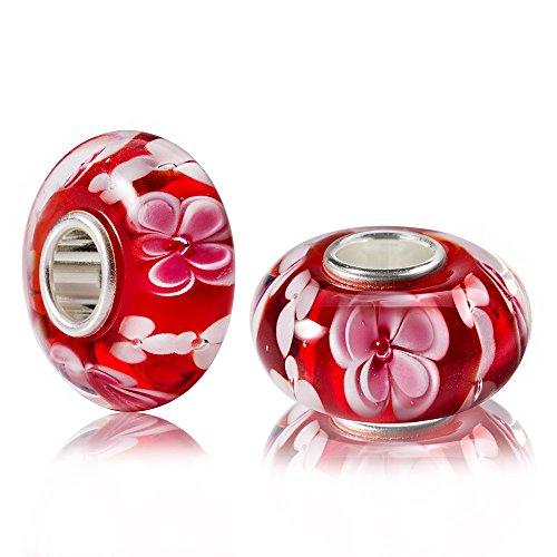 MATERIA Muranoglas Beads Perle Blume Blüte Charm rosa rot 925 Silber für European Beads Armband/Kette 1668