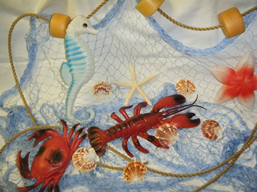 Fishing Net 6 ft X 8 ft Blue Decorative Nautical Fish Netting, Fishing Theme Party Decorations, Crab Lobster Seahorse Starfish Floats Shells, Authintic Fishing Net