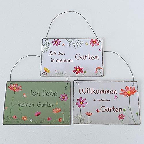 Metall Schilder Garten Cosmea mit Sprüchen 3er Set Sortiert 21x14cm zum Hängen