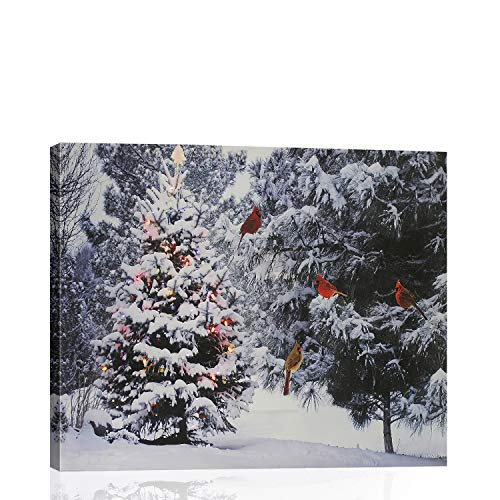 "BLIOWL Christmas Canvas Wall Art for Bedroom, Christmas Tree Cardinal Birds Snowy Winter Forest Pine Trees Scene Picture Canvas Framed Wall Deocr for Living Room Kitchen Ready to Hang 12""x16"""