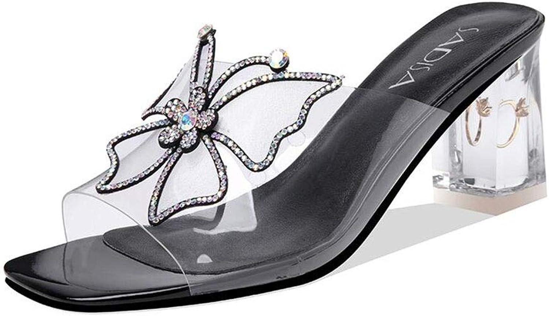 DALL Schuhe Sandalen Frauen Dicker Absatz Sommer Bogen Strass Mode Elegant Schuhe Mit Hohen Abstzen (Farbe   schwarz, Größe   EU 35 UK 3.5 CN 35)
