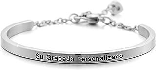 Acero Inoxidable Pulsera Brazalete Manguito Corazón Heart Ajustable - Grabado Personalizado