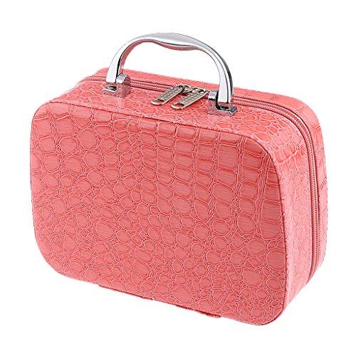 MagiDeal Professionelle Kosmetiktasche aus PU-Leder für Reisen, Make-up, Zug, Aufbewahrungstasche rose