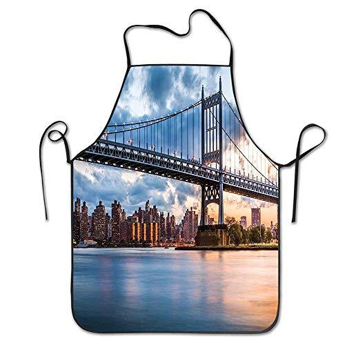 Not Applicable Kennedy Triboro Brücke in Queens New York Manhattan River Landschaft Schürze Unisex Küche Latzhals zum Kochen Gartenarbeit, Erwachsenengröße