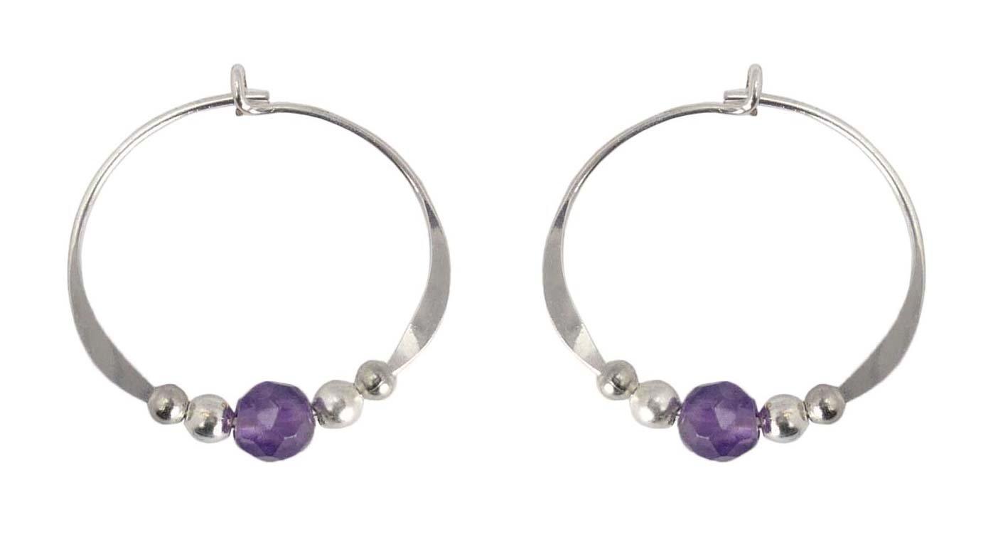 Bali Sky Small Sterling Silver Purple Bead Hoop Earrings SHS014