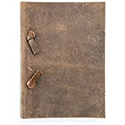"Roughneck Notebooks - Mini Grail Diary 4x5.5"" Handmade Unlined Kraft Paper Vintage Leather Notebook, perfect gift for travel journal and sketchbook for artists - men, women, children, everyone"