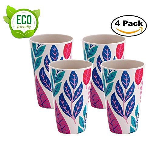AMTNATURE 4er Set Bambus Gläser mit 350 ml Fassungsvermögen Biologisch abbaubares Becher-Set. Umweltfreundliches Geschirr, BPA-frei.