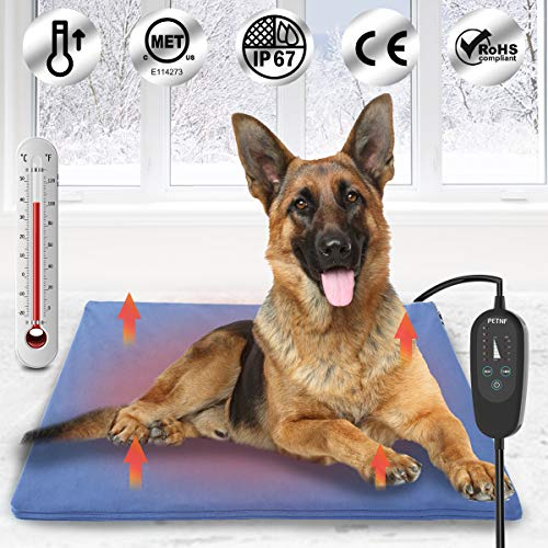 Upgraded Pet Heating Pad for Dogs Cats with Timer,29.5'x17.7' Safety Cat Dog Heating Pad,Waterproof Heated Cat Dog Bed Mat,Heated Pad Dog House Heater,Heated Dog Cat Blanket,Heated Pet Bed Mat