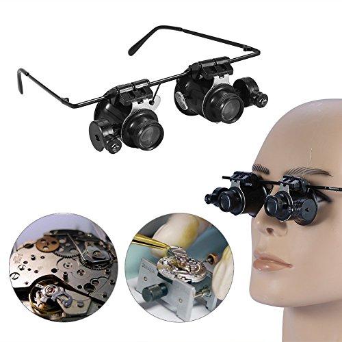 Lupenbrille Mit Licht Für Brillenträger Senioren Zahnarzt,20X Lupenbrille Mit Led Wimpernverlängerung,Kopfband Lupen,Standlupe Mit Led Zum Lesen