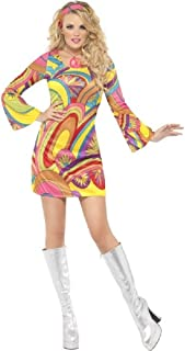 Ladies Sexy Hippie Hippy 60s 70s Flower Power Fancy Dress Costume Outfit UK 8-18 (UK 12-14) Yellow