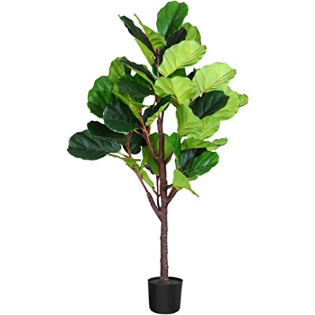 Amazon Com Fopamtri Artificial Fiddle Leaf Fig Tree 4 3 Feet Feaux Ficus Lyrata Plant With 44 Leaves Faux Plant For Indoor Outdoor Fake Plants In Pot For Home Office Perfect Housewarming Gift Home