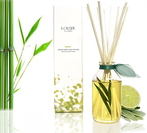 LOVSPA Bamboo Citrus Essential Oil Reed Diffuser Set Zesty White Lime & Crisp Bamboo   Tart Citrus Scent for The Kitchen or Bathroom   Makes a Great Gift for New Homeowners