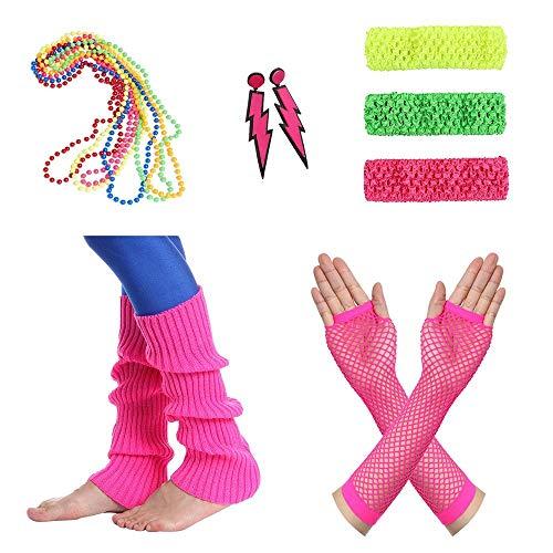 Amaza 80er Damen Neon Beinstulpen Halsketten Fischnetz Handschuhe Stirnband Ohrringe Verkleiden Kostüme (Mehrfarbig)