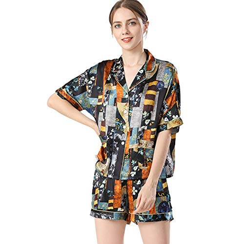 Conjunto de Pijama de Seda de Morera 100% para Mujer Conjunto de Pijama para Mujer Pantalón Corto de Manga Corta Traje de Tres Piezas Servicio a Domicilio,Multi Colored,L