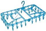洗濯 物干し ハンガー ポリカ 角ハンガーDX ブルー ピンチ32個入り 衝撃による割れに強い 強化プラスティック使用