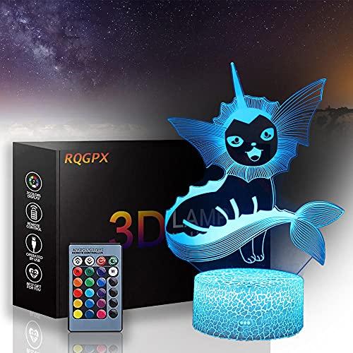 Pokemon ilusión lámpara 3D LED noche luz 16 colores cambio automático interruptor táctil decoración escritorio