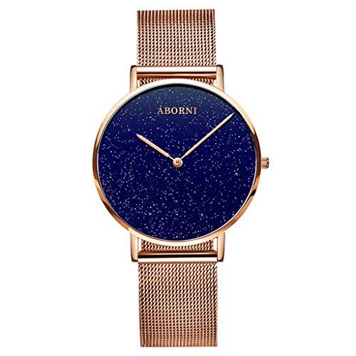 Rventric Elegante Reloj De Cuarzo Star Sky, Reloj De Malla De Cuarzo Impermeable para El Reloj De Cuarzo De Las Mujeres Día De San Valentín,Gold