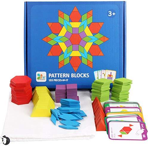 PROW® DIY Hölzern Rätsel Bretter Klassisch Tangram Spielzeug mit 155PCS Solide Holz Geometrisch Formen und 24 Referenz Anleitungen Lehrreich Spielzeug Einstellen Kind Geschenk