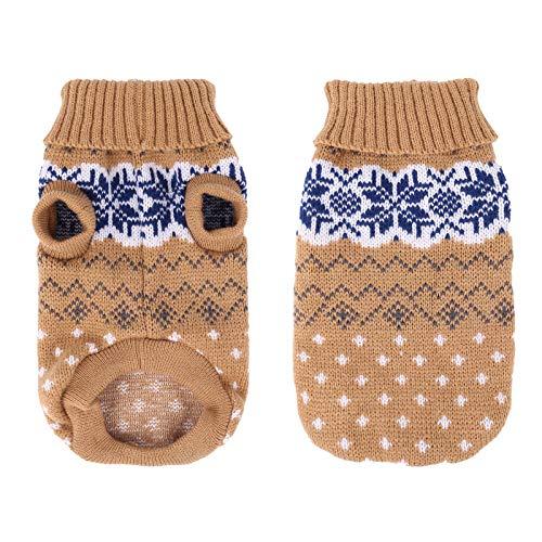 Heyu-Lotus Hundepullover Winter Warmer Hund Katzenpullover Kleidung hundemantel Welpenpullover Haustier Katze Pullover für kleinen großen Hund Katze(S-Beige)