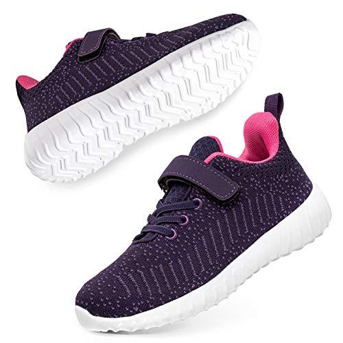 SOBASO - Zapatillas de tenis para niños, zapatillas deportivas para correr, color morado