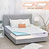 Sweetnight 3 Inch Mattress Topper Queen Size with Waterproof Mattress Protector, Memory Foam Topper Infused Gel & Bamboo Charcoal, Cooling & Ventilation, Plus 4 Bed Sheet Holder Straps, Medium Plush