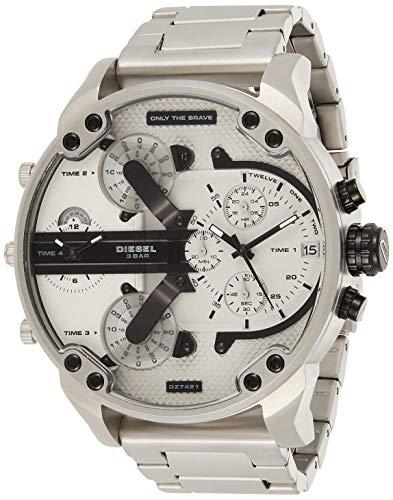 Diesel Herren Analog Quarz Uhr mit Edelstahl Armband DZ7421