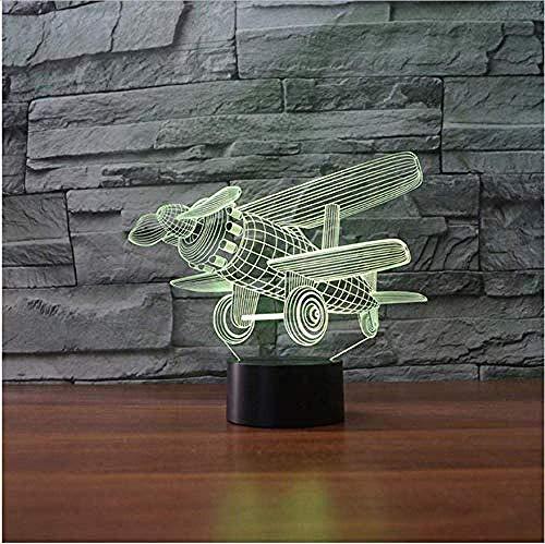3D tafellamp 7 kleuren mondstuk-vliegtuig vintage led dubbeldekker decoratie nachtlampjes kinderen baby slapen touch button lampen lampen lichten