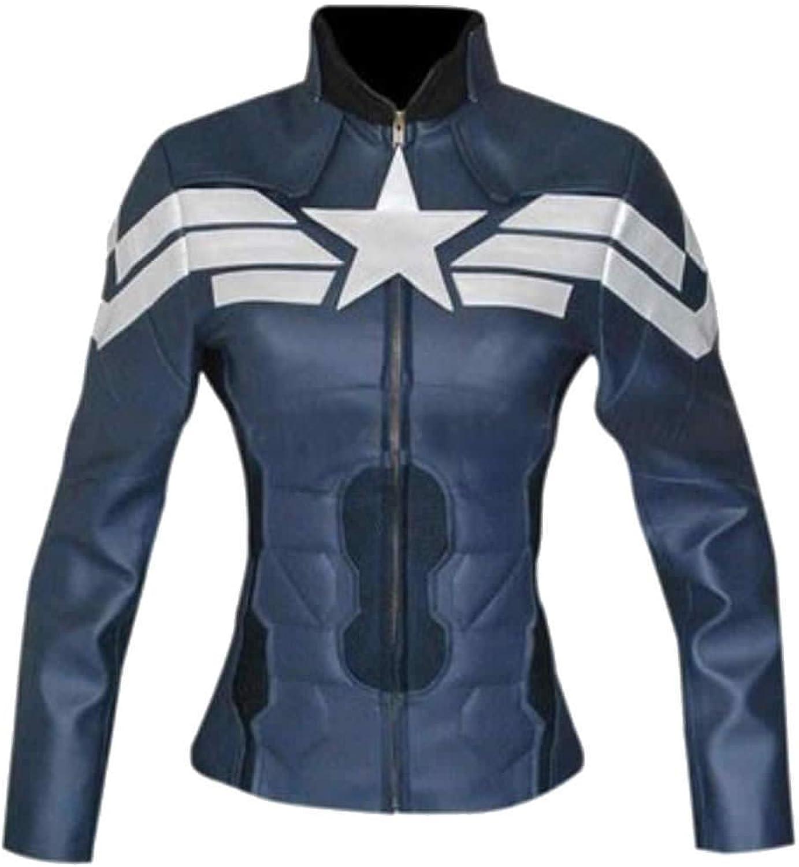 Stormwise Women's Captain Fashion America Leather Jacket bluee