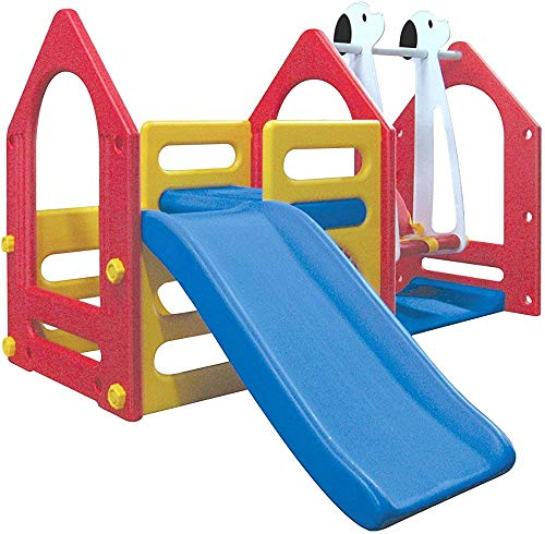 Casas de juegos de plástico, kit incluye columpio columpios, toboganes, pared de escalada de apoyo máxima de 30 kg durante 1-6 años (no más de 4 años) los niños,A