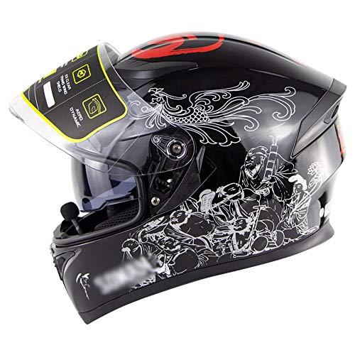 Casco Integral Bluetooth Moto ECE/Dot Homologado Hombres Mujeres Cascos Modular de Moto con Un MicróFono Incorporado Visera Doble para Montar Al Aire Libre Apto S~XXL