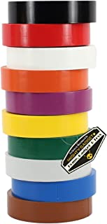 """10 Pack of Mighty Gadget (R) Professional Grade UL Listed Assorted Rainbow Colors PVC Electrical Tapes with Rubber Based Adhesive, Rated up to 600 Volts and 176 °F - Dimensions: 3/4"""" x 60 Feet (L)"""