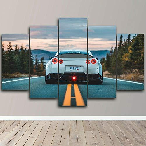 YQRX Leinwanddrucke 5 StüCk/Teilige Leinwand Bild Moderne Dekoration Leinwand Bilder Wand Kunst Bild Schlafzimmer Wandbild Bereit Zum AufhäNgen Luxus-Sportwagen Wandgemälde Rahmen/150X80CM