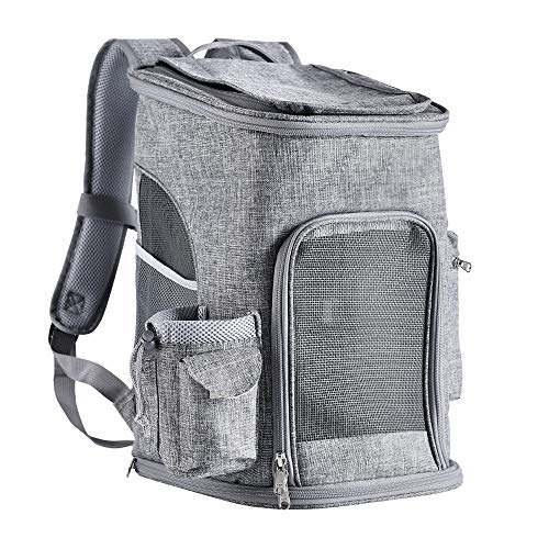 Dog Backpack Carrier, Pet Carrier Backpack for Small Cats, Dogs, ,Mesh Windows 3 Way Entry,Safty Backpack Carrier-Buckle Support and Caushion Back Design for Travel Hiking Camping Outdoor Use,Grey