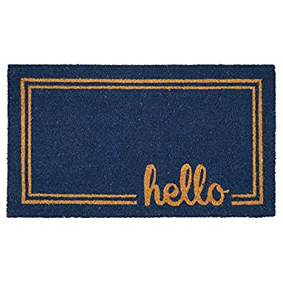 mDesign Rectangular Coir and Rubber Entryway Welcome Doormat with Natural Fibers for Indoor or Outdoor Use - Decorative Border Design - Navy Blue/Brown