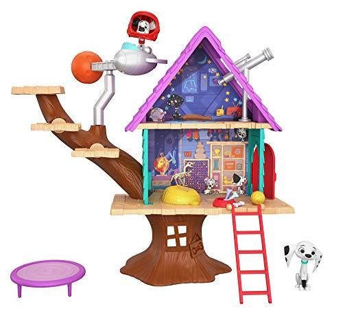 Mattel GDL88 - Disney Das Haus der 101 Dalmatiner Dylans Baumhaus Spielset mit Dylan und Dolly, Spielzeug ab 5 Jahren