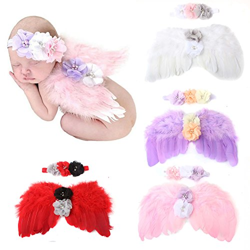 WZT 4 Sets Feather Angel Wings Rhinestone Headband Set Baby Chiffon Flower Headband Hair Accessories Newborn Photo Prop Costume