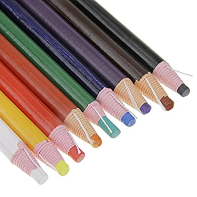 Assorted Color Peel-Off China Markers Grease Pencils Set Colored Drawing Marking Crayon Pencil for Coloring Drawing Marking on the Wood Glass Garments Metal Fabrics Porcelain Film Paper, Pack of 9
