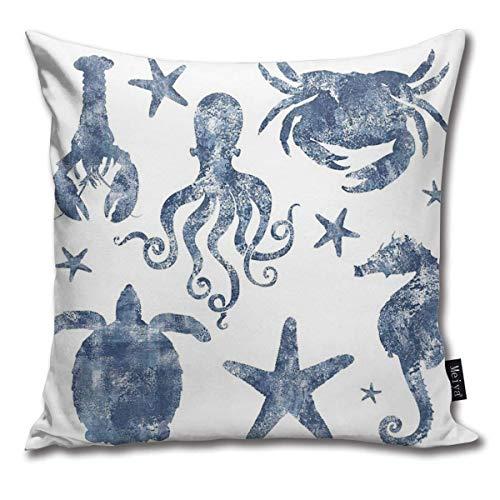 Funda de almohada cuadrada de 45 x 45 cm, diseño náutico, estrella de mar, caballito de mar, tortuga, pulpo, playa costera con cremallera, decoración del hogar