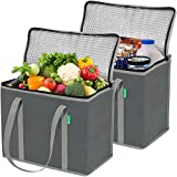 XL Insulated Reusable Grocery Bag Set (2 Pack - Gray). Durable, Premium Quality Cooler Bags with...