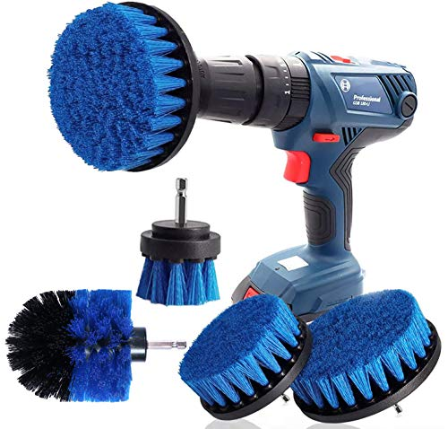 Bohrmaschine Bürstenaufsatz Bohrbürsten Befestigung Scrubber Reinigung Kit zum Reinigen der Autodusche Fliesenräder Teppichmörtel Polster 4PCS Blau