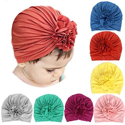 Simoda 7/8 Pcs Kids Baby Bohemian Turban Headbands Super Suave algodón Lindo Turban Knot Caps (7 pcs Hat #2)