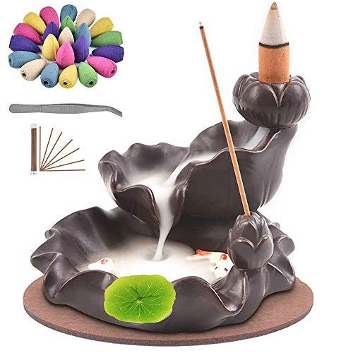 TMINCK Waterfall Incense Burner, Ceramic Backflow Incense Holder Handcrafted Censer Inscent Stick...