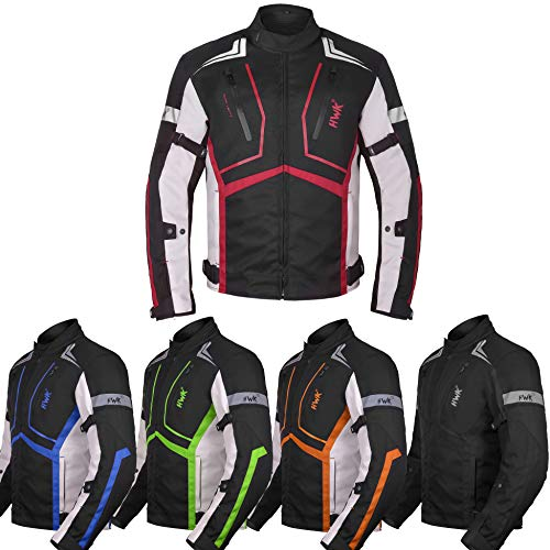 Motorcycle Jacket For Men Textile Motorbike Dualsport Enduro Motocross Racing Biker Riding CE Armored Waterproof All-Weather (Red, XL)