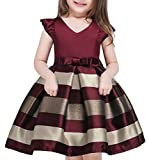 AIMJCHLD Teenage Girls Formal Dress Christmas Easter Striped Party Birthday Pageant Flower Girl Dresses Size 9T 10T (Wine, 160)